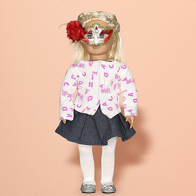 1 Set Handmade Coat+ Skirt+ Tights Clothes Dress For 18inch Dolls w