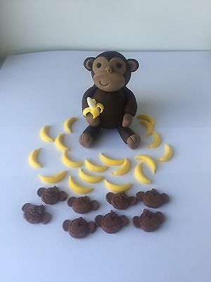 3D Edible Jungle Monkey,banana,monkey Face Fondant Cake Topper Brithday Cake .