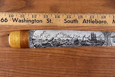 SCRIMSHAW SWORDFISH  BILL PEN-AND-INK  K. HENRY  SHIP  squid sperm whale