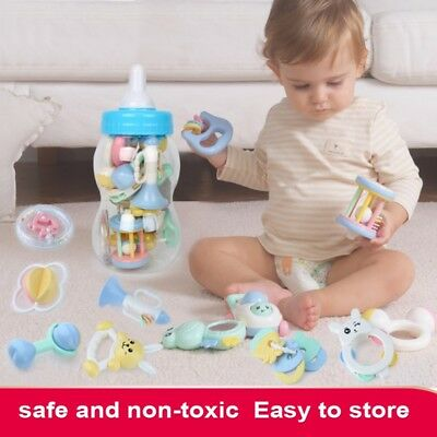 8/13Pcs Newborn Baby Teether Rattle Large Milk Bottle Cute Playing Toys Gifts AU
