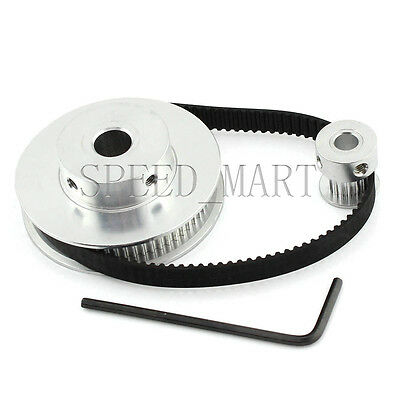 GT2 80/16 Teeth Pitch2mm W6mm Timing Pulley Belt set kit Reducer Ratio 5:1