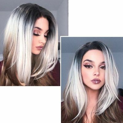 Us Synthetic Ombre Gray Linen Wig Short Hair Straight Side Part