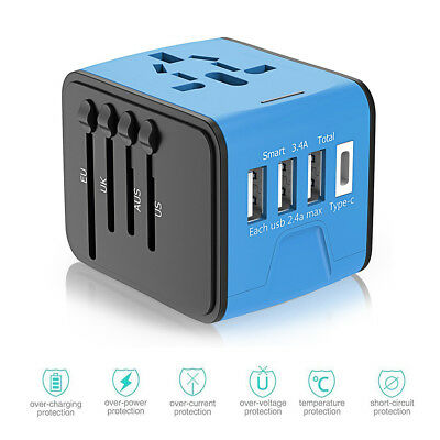 Fast Charge 3USB Type C Universal International World Travel Adapter US/UK/AU/EU