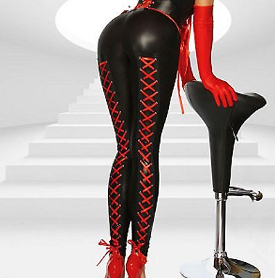 Latex Look Sexy Black Leggings Red Silky Ribbon Lace Up Backs