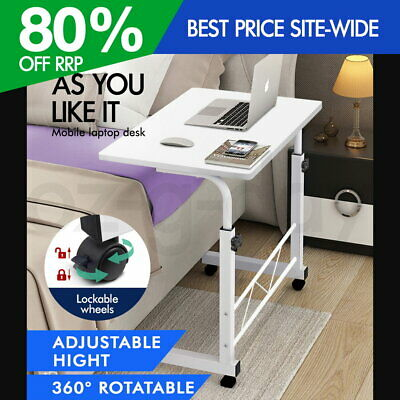 Portable Adjustable Mobile Wooden Laptop Study Desk Sofa Bed Side Table Stand WH
