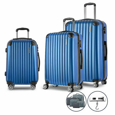 Wanderlite 3pc Luggage Suitcase Trolley Set TSA Scale Storage Organiser Blue