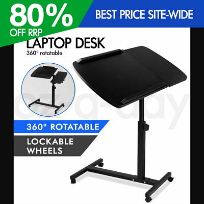 Mobile Laptop Desk Adjustable Height Notebook Computer iPad PC Stand Table Black