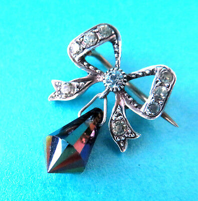 Charming Antique  Tiny 925 Silver Stone Se Bow Brooch,