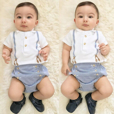 Cute Newborn Baby Boys Toddler Summer Romper Jumpsuit Trouser Outfit Clothes Set