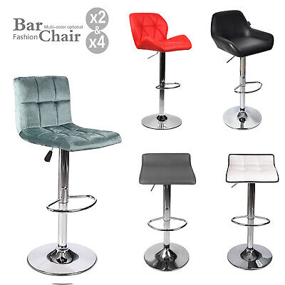 Set Of 4 PU Leather Pub Bar Stools Adjustable Swivel Seat Counter Chair Dining
