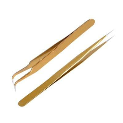 Anself 2Pcs Straight & Curved Tweezers Nippers False Eyelash Extension Stainless