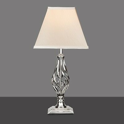 Kingswood Barley Twist Square Base Traditional Table Lamp - Satin Silver