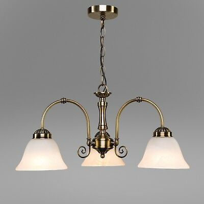 Elegant Diner Ceiling 3 Light Pendant - Antique Brass - Alabaster Glass