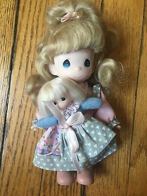 """Precious Moments 7"""" Vintage Doll 90s With Mini Toddler Baby"""