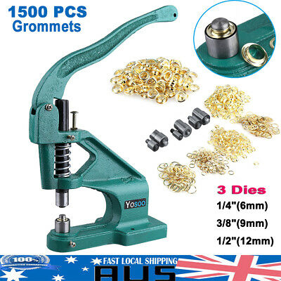 Grommet Eyelet Hole Punch Machine Hand Press 3 Dies 1500PCS Grommets