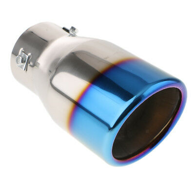 Silver and Blue Stainless Steel Car SUV Rear Exhaust Pipe Tail Muffler Tip