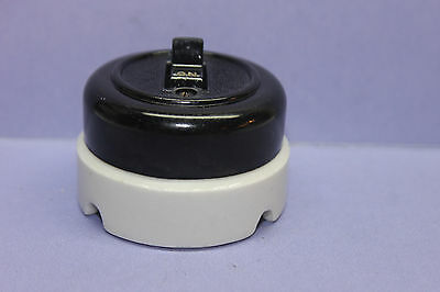 Vintage Arrow-H&H Round Porcelain Bakelite Toggle Switch Double-Pole DPST - 20A