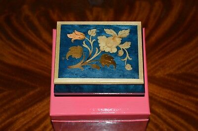 """VINTAGE THE SAN-FRANCISCO MUSIC BOX Co. WOODEN BLUE GOLD NEW IN GIFT BOX  4""""x 3"""""""