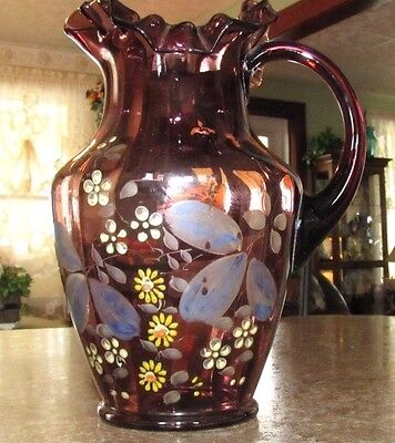 BEAUTIFUL 1800'S VICTORIAN RED PLUM Color ENAMELED FLOWERS WATER PITCHER