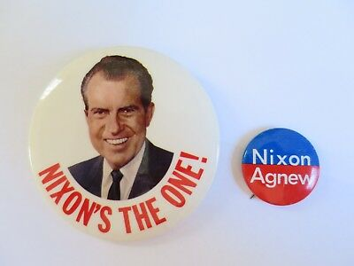 """NIXON'S THE ONE"" 3""' BUTTON WITH PHOTO FROM 1968 + Agnew"