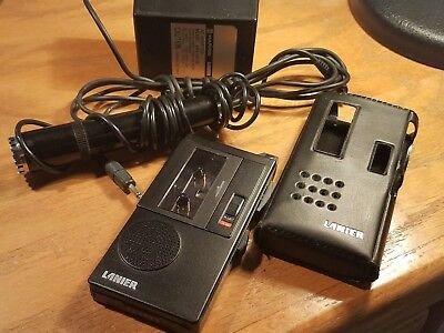Lanier P-135 Micro Cassette Recorder & Case + Microphone Good Working Order
