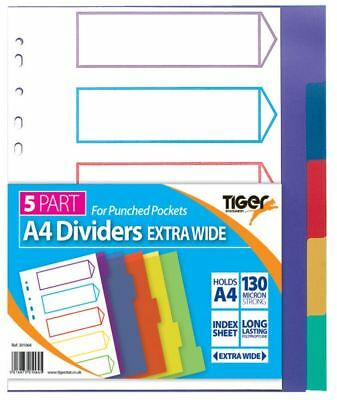 A4 5 Part Extra Wide Punched Pockets Dividers Index Office File Document Binder