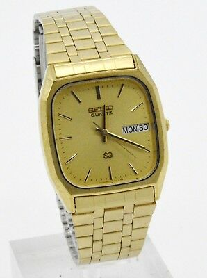 Vintage Seiko Sq 8123-5140T Men's Gold Tone Stainless Steel Wrist Watch
