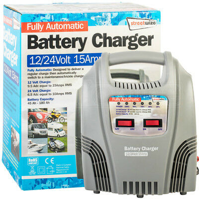 Streetwize Fully Automatic Battery Trickle Charger 12/24Volt 15Amp Car Van Truck