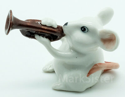 Figurine Animal Ceramic White Rat Mouse Mice Playing Trumpet Musical - FG008-2