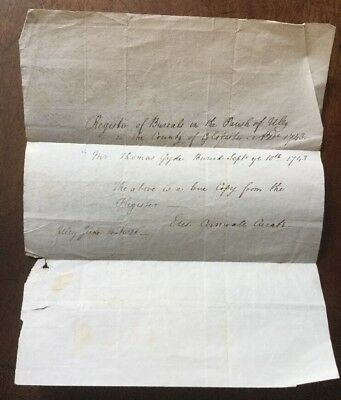1821 - Certificate Of The Burial Of Thomas Gyde Of Uley, Glos In 1743.