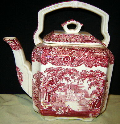 Vintage Masons Pink Vista Ironstone 7 Cup Tall Teapot with Lid