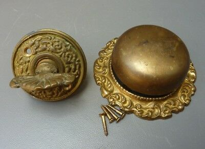 Antique / Vintage Old Victorian Brass Door Bell Ringer  /  Twist Key