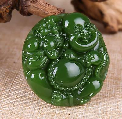 China hand-carved Green Natural jade Male Bodhisattva Pendant Necklace Amulet