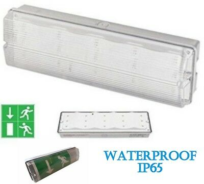 LED Emergency 3W Non Bulkhead Fire Maintained 3hr Ceiling Mount IP65 Exit Light