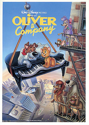 Rare Vintage Unused Walt Disney Pictures Oliver & Company Fan Postcard 5x7 Card