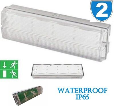 2x Mounted Emergency Exit Fire Non Bulkhead 3W Light Wall LED Maintained IP65