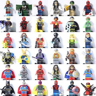 Iron-Man Spider-Man Superman Green Lantern Flash Batman Thor Fit Lego Minifigure
