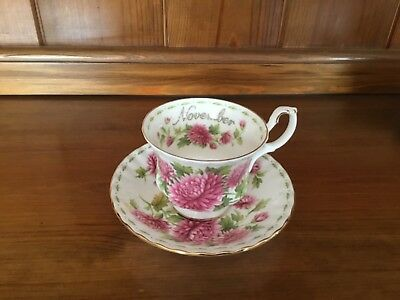 Royal Albert Flower of the month November Chrysanthemum Cup and Saucer