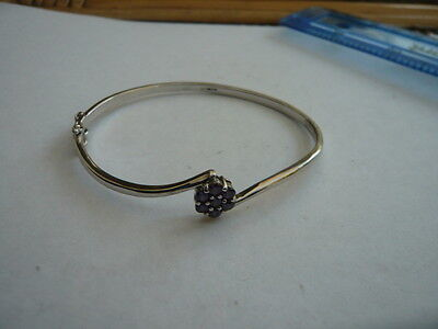 Retro 925 Sterling Silver Bangle Bracelet Set With Sparkling Purple Crystals