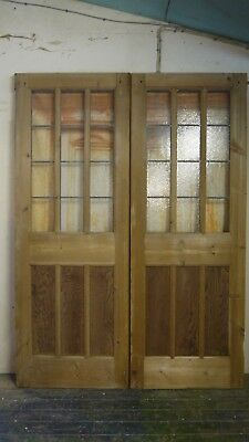 XPD10 (60 1/2 x 83 3/4) Reclaimed Pair of Old External Glazed Period Pine Doors