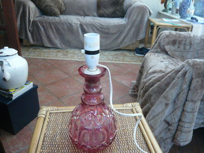 Victorian Antique Cut Glass Cranberry Decanter Base Upcycle Table Lamp Converted