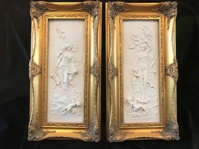 Fine Pair After Francois Duquesnoy French Parian Relief Panel Gilt Wall Plaques
