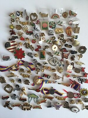 Vintage To Now Variety Shapes, Crosses, Causes PINBACK PIN LOT 128pieces