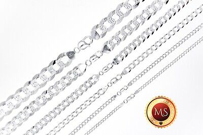 ITALY 925 SOLID Sterling Silver Diamond Cut CURB Chain Necklace or Bracelet