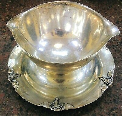 Vintage W.G. Sterling Silver Gravy Boat with Attached Under plate Tray 925 WG 42