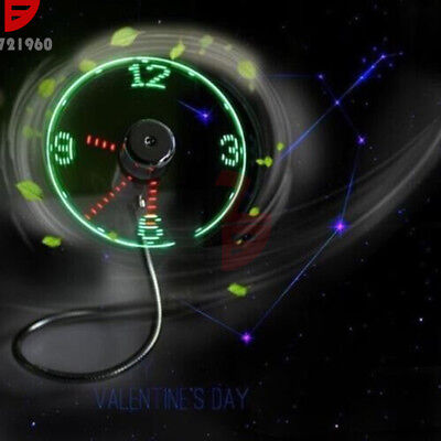 Mini LED Fan USB Clock Fan Powered Cooling Flashing Real Time Display Function