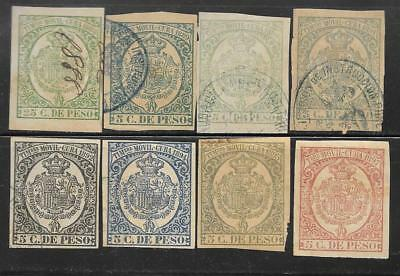 M-27 Spain caribbean,antilles, lot of 8 revenue stamps, 1888-1897