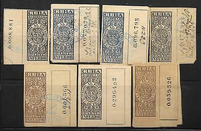 M-6 Spain caribbean,antilles, lot of 7 revenue stamps, 1886-1891