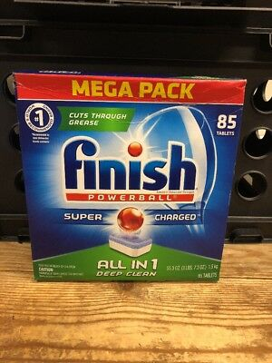 FINISH Powerball Dishwasher Tabs, Fresh Scent, 85/box, 4 Boxes 340 Tabs NEW