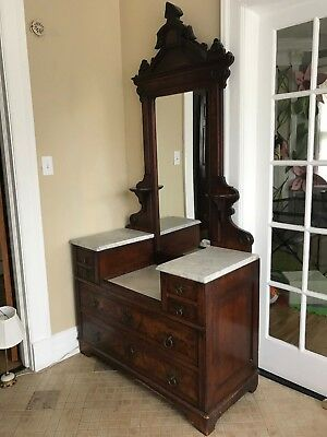 Antique Beautiful Victorian East Lake Walnut Marble Top Dresser with Mirror 84""